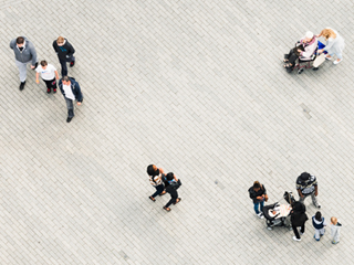 Aerial photo of people walking